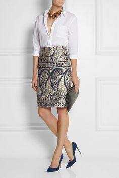 J.Crew|Collection paisley-jacquard pencil skirt|NET-A-PORTER.COM