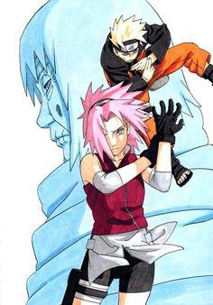 Naruto, Sasuke and Chiyo obaa-chan