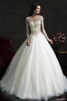amelia sposa 2015 bridal leonor ball gown weddding dress long sleeve embellished top