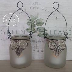 Dollar Store Crafts, Dollar Stores, Glass Jars, Mason Jars, Cottage Garden Design, Hanging Vases, Recycled Bottles, Shabby Chic Furniture, Chalk Paint