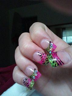 Leopard & Cheetah Nails :) Love The Neon Colors.