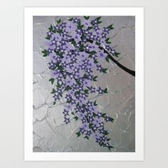 purple branch wisteria flowers blossom violet green silver grey blossoms pretty Art Print by Cathy Jacobs - $16.64