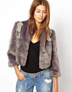 Jarlo Faux Fur Jacket with Embellishment