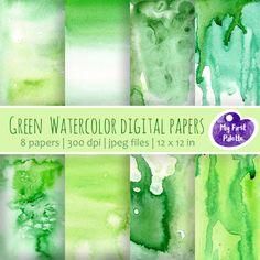Green Watercolor Digital Paper Clip Art. Set of 8 JPG watercolor backgrounds / digital papers. Printable. Instant download , 300 dpi