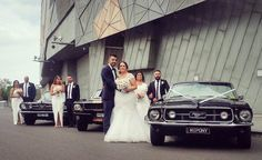 Mustangs in Black 1966 and 1967 GT Convertible Ford Mustang fleet including our Shelby GT350 at Melbourne's Federation Square for Jessica and John's wedding shoot.
