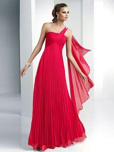 Vestido de Fiesta Rojo de Gasa de Corte A de Hasta suelo de Solo Hombro Con Pliegue at pickedlook.com