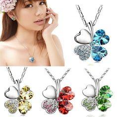 Lucky Crystal Four Leaf Clover Heart Pendant Necklace & Earring