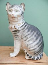 SUPERB 19thc STAFFORDSHIRE FIGURE OF A CAT GREY STRIPED WITH OPEN FRONT LEGS