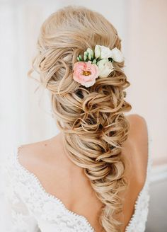 Classy Rustic Half Up Half Down Wavy Wedding Hairstyle with Flowers