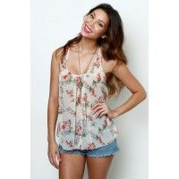 LoveMelrose.com From Harry & Molly | Sheer floral tank from Love Melrose - SLEEVELESS - TOPS
