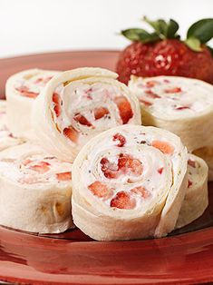 Strawberries and Cream Cheese Wheels - Deliciously Different