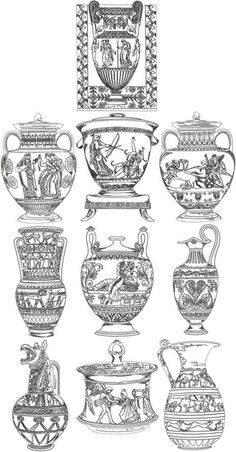 Advanced Embroidery Designs - One-Color Ancient Greek Vase Set