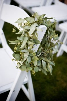 Aisle markers- green wreaths to place at lantern centerpieces for reception Wedding Pews, Wedding Isles, Wedding Wreaths, Wedding Chairs, Wedding Arches, Botanical Wedding, Floral Wedding, Wedding Flowers, Wedding Stuff