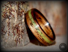 """Bentwood Ring - """"Inlaid Ole Smoky"""" Olive Wood Ring with Green Apple Turquoise Inlay - Bentwood Jewelry Designs - Custom Handcrafted Bentwood Wood Rings  - 4"""