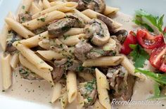 Penne pasta med oxfile, svamp och grädde