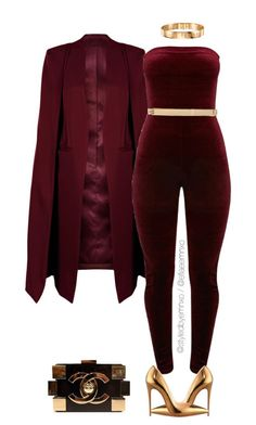 Burgundy by efiaeemnxo ❤️ liked on Polyvore featuring WithChic, MICHAEL Michael Kors, Christian Louboutin, Chanel, sbemnxo and styledbyemnxo