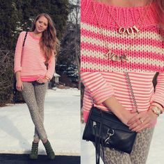 Forever 21 Striped Sweater, Winners Leopard Jeans, Rebecca Minkoff Mini Mac, Forever 21 Dainty Necklaces, Military Booties