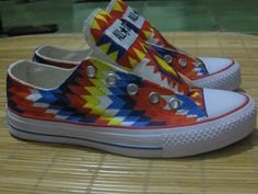 "Handmade Painting Colorful Tribal Shoes  ""We make your own special custom shoes design""  For more info about custom shoes please visit our Instagram profile @kustommadeindonesia"
