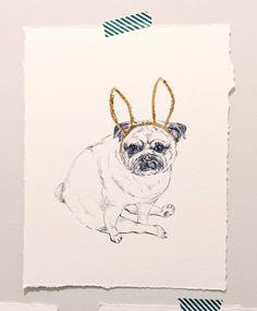 Pug with bunny ears original drawing with gold and by LimbTrim Pug Art Cute Pug Nursery Art Art for home