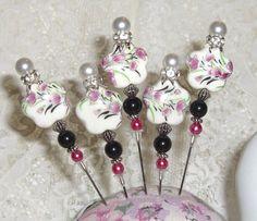 TPHH Set of 5 Porcelain Hat Stick Pins Albums Cards Scrapbook Black Purple #createdbyalva1973