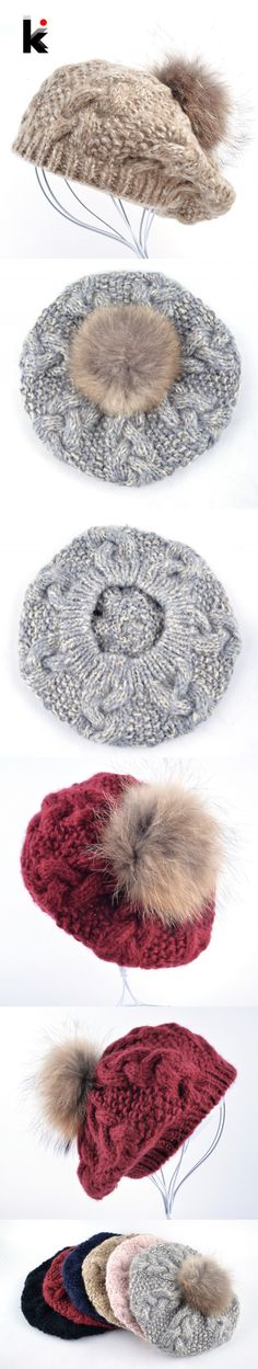 2016 Winter Raccoon fur pompom beret ladies knit wool hat hand-knitted cap female berets hats for women boina feminina Gorras $18.3
