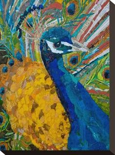 """ART AND LIFE of a figurative collage artist from Orlando, FL. Creating """"Paintings"""" with bits of torn paper, applied as brush strokes! Paper Collage Art, Painting Collage, Paper Art, Paintings, Illustrations, Illustration Art, Paper Mosaic, Mosaic Art, Peacock Art"""