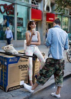 street-style: MEN'S CASUAL. Cargo capris and denim shirt plus converse..cool