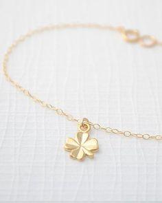 Tiny lucky 4 leaf clover necklace. Shamrock family!