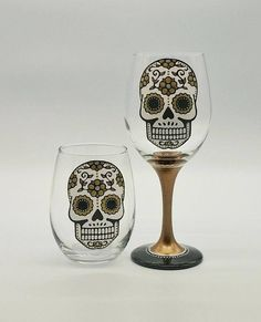 Metallic Sugar Skull Hand Painted Wine Glass in Stemmed or