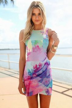 Spring dress. I love the print on this. The colors, everything!!
