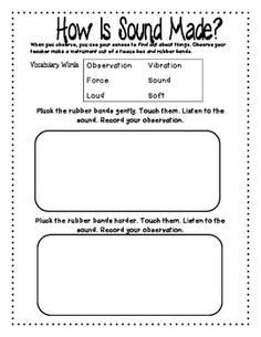 Image Result For Worksheets Vibrations And Sound First Grade
