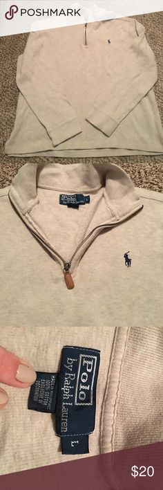 Ralph Lauren pullover size large Men's oatmeal colored Ralph Lauren pullover - worn once or twice- excellent condition Polo by Ralph Lauren Sweaters