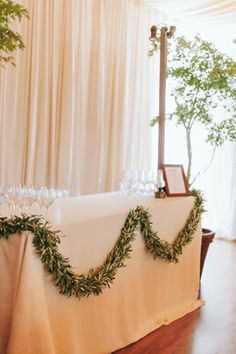 Elegant wedding reception decor idea - ivory table linens with greenery garland {The Why We Love} Wedding Reception Flowers, Garland Wedding, Wedding Reception Decorations, Wedding Table, Floral Wedding, Wedding Backyard, Marquee Wedding, Wedding Dresses, Table Decorations