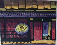 Clifton Karhu, Japanese wood block print maker (immigrated to Japan early).  Gion, Kyoto