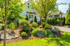 Bäume und Gräser sind die meisten pflegeleicht natürliche Ornamente, die Sie in Ihrem Vorgarten setzen können. Fügen Sie ein paar große Steine und Blüten, eine einfache aber kreative Design zu geben.