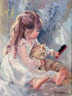 """Brushing Kitty"" -- by Nelda Pieper, American Romantic Paintings, Paintings I Love, Beautiful Paintings, Renaissance Paintings, Renaissance Art, Foto Poster, Victorian Art, Sketch Painting, Classical Art"