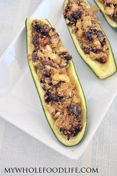 Quinoa Stuffed Zucchini Boats. A super simple, healthy meal that you will love! #vegan #glutenfree #healthyrecipe