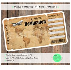 Surprise someone with a vacation to anywhere by giving them this customizable Vintage Map Boarding Pass Ticket! After purchase, you will have access to instantly download an 8.5x11 PDF that will have two tickets on it. All five of the fields (Passenger Name, From, To, Date, Time)