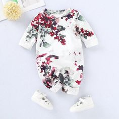 f67afdb12 Beautiful Pure Cotton Floral Romper #babygirl #onesie #jumpsuit #flowers  Baby Outfits Newborn
