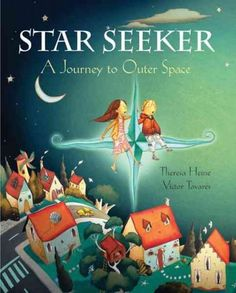 A title that includes facts about astronomy, the solar system, and constellations describes an imaginary journey through the night sky, from joining Orion on a hunt to hitching up the North Star for a