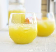 Fruity Lemonade.  Easy to make and great for a hot summer day.  No refined sugars and totally refreshing!