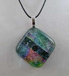 Shades of Green Glass Pendant by ZacInTheBoxCreations on Etsy
