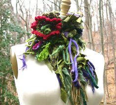 Custom Made Patchwork Wool Scarf/ Neck Warmer/ Wrap With Crochet Flower, Tassels And Beads
