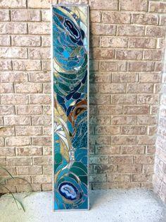 Stained Glass Mosaic Panel Transom Window w Brazilian Agates | Etsy Stained Glass Designs, Stained Glass Panels, Stained Glass Projects, Stained Glass Patterns, Stained Glass Art, Fused Glass Art, Glass Wall Art, Stone Mosaic, Mosaic Glass
