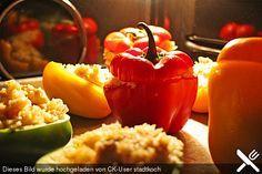 Paprika mit Geflügel - Curry - Füllung