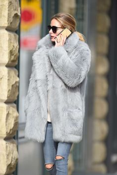 grey fur coat-olivia palermo-winter weekend outfit-via-gotceleb.com