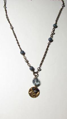 Blue Coral Vintaj and Grey Freshwater by WorldOfSquirrelCraft, $28.00