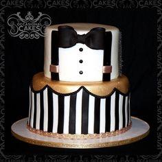 #gentleman #baby #babyshower #cake #bowtie #suspenders #blackandwhite #gold #stripes #littlemanbabyshower #occasional_cakes #stl #stlouis #saintlouis #edible_art #cake_art