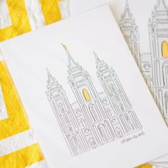 An illustrated and hand lettered print of the Salt Lake Temple. SIZES: This print is available in the following sizes: 11x14, 8x10 and 5x7. Need a