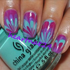 Water Marbled Nails  - @heartnat24